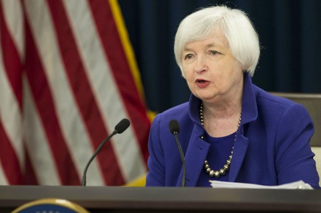 President van de Fed Janet Yellen tijdens de persconferentie over de renteverhoging. Foto: ANP/AFP