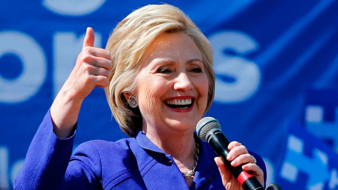 Hillary Clinton op campagne in California.