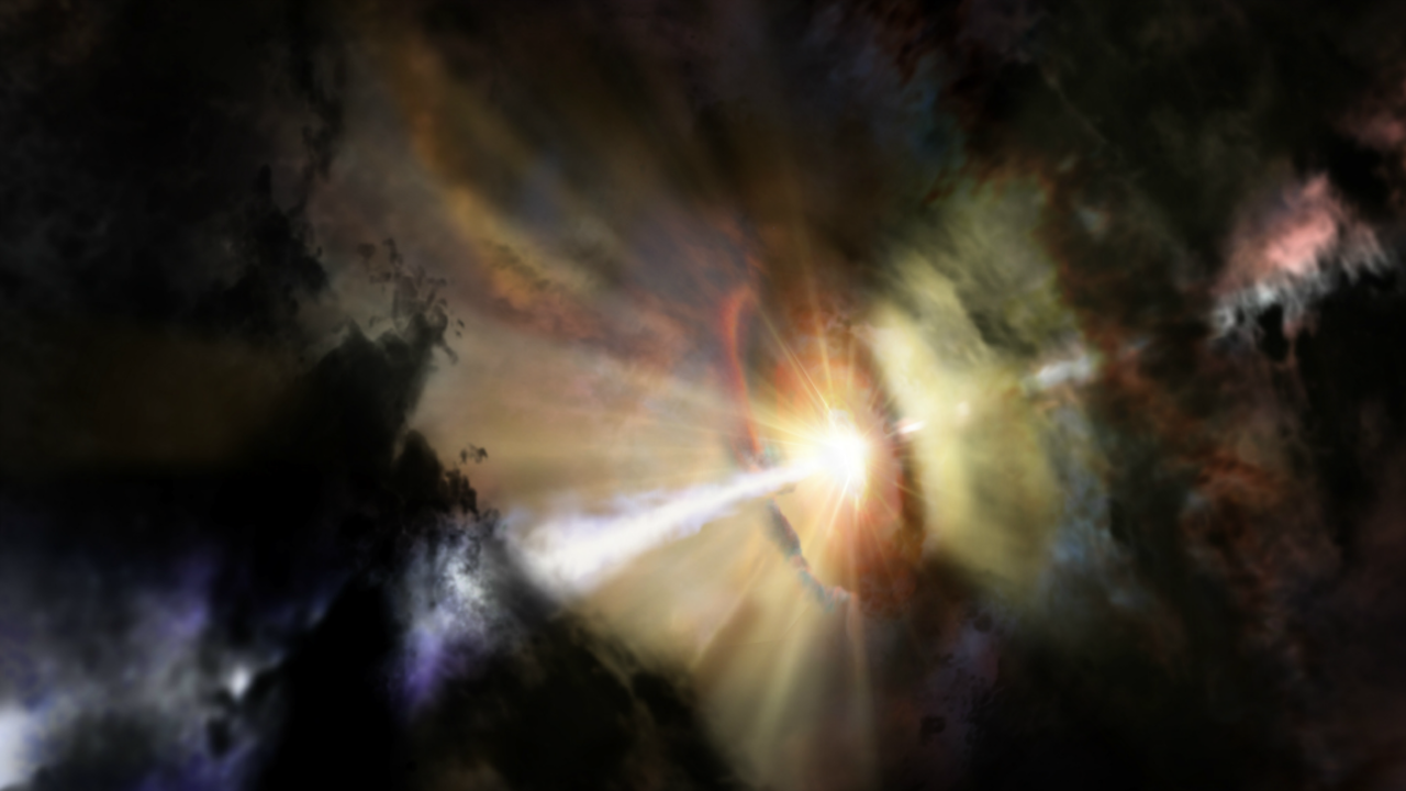 Afbeelding: NRAO/AUI/NSF; Dana Berry / SkyWorks; ALMA (ESO/NAOJ/NRAO)