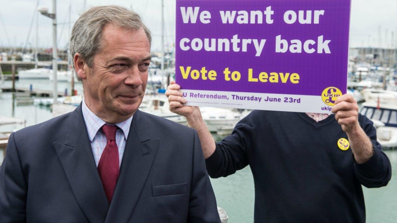 Nigel Farage (UK Independence Party) voert campagne. Foto: ANP
