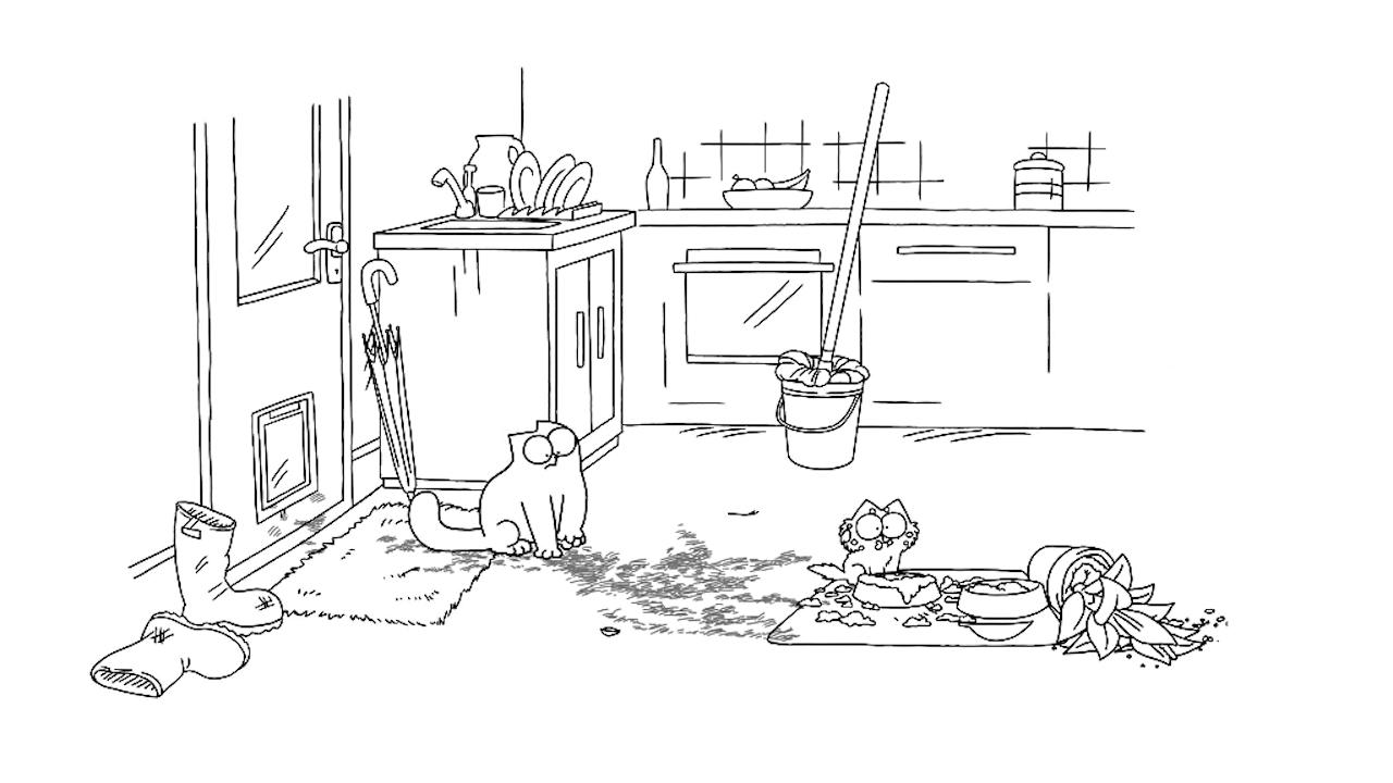 Screenshot van Simon's Cat, een van de leukere kattenvideo's op Youtube die ook werd gebruikt in dit onderzoek