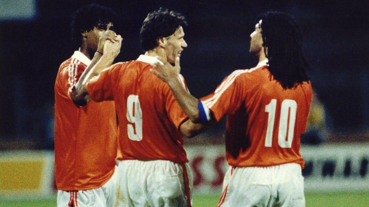 Marco van Basten, Ruud Gullit en Frank Rijkaard. Archieffoto ANP