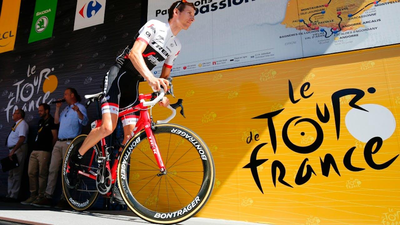 Bauke Mollema voor de start van de veertiende etappe van de Tour de France. Foto: ANP