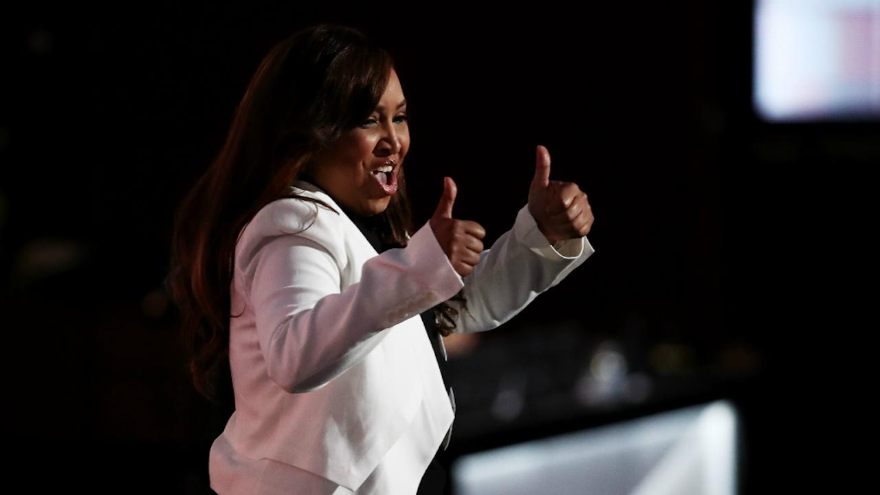 Lynne Patton zette een authentieke speech neer. Foto ANP