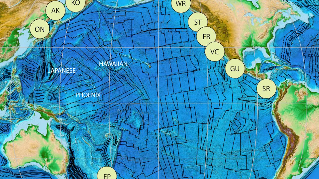 De driehoek van waaruit de bodem van de oceaan groeit (Afbeelding: Boschman and van Hinsbergen Sci. Adv. 2016; 2 : e1600022)