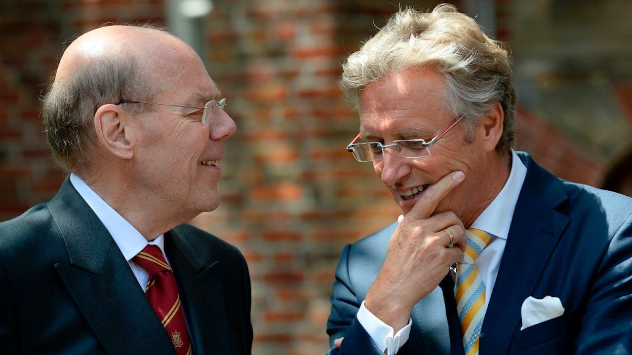 Jorritsma (rechts) in gesprek met Rienk Wegener Sleeswijk. Foto: ANP.