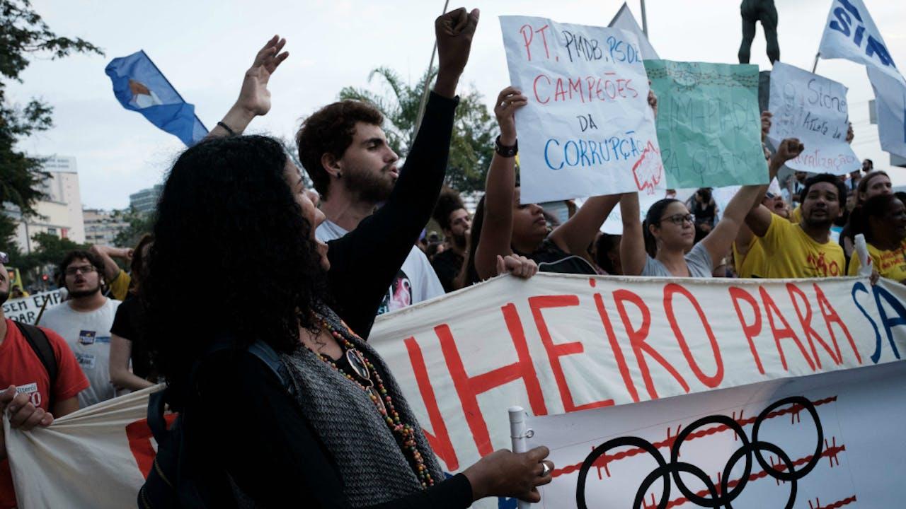 Protest voorafgaand aan de Spelen in Rio. Foto ANP