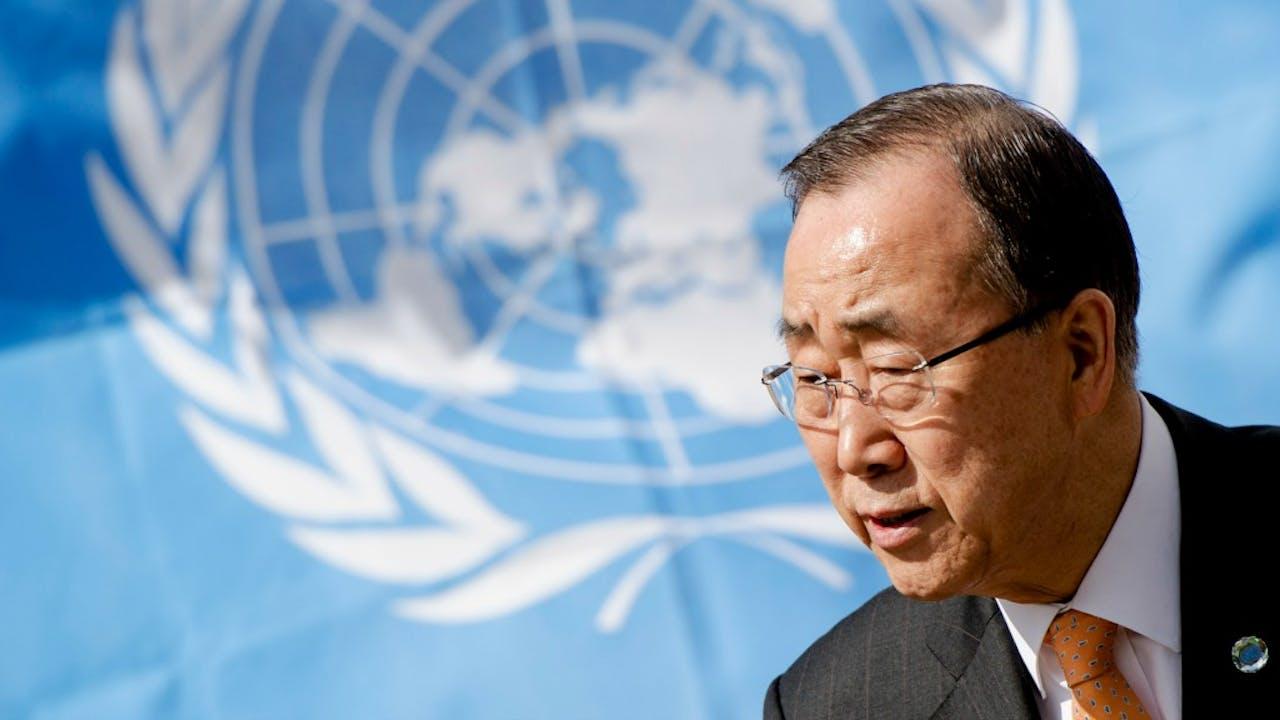 De huidige secretaris-generaal van de Verenigde Naties, Ban Ki- moon. Foto ANP