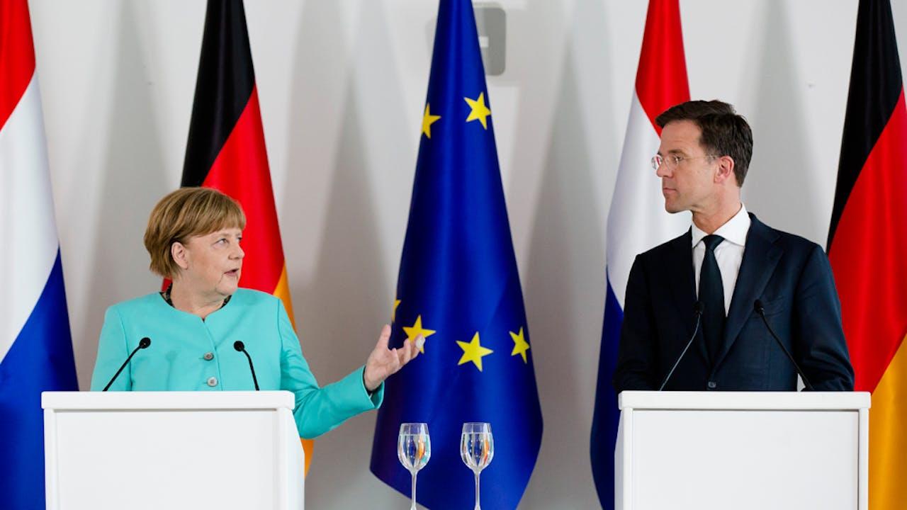 Angela Merkel en Mark Rutte.