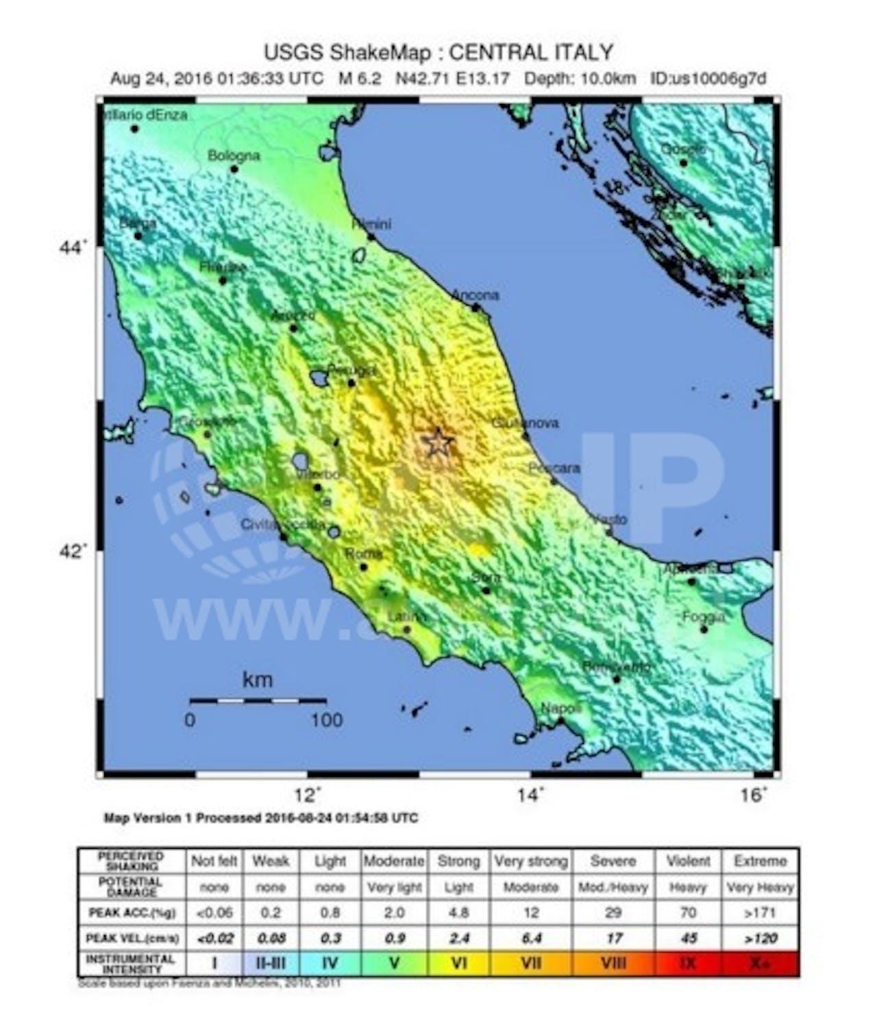 USGS Shakemap. Bron: ANP