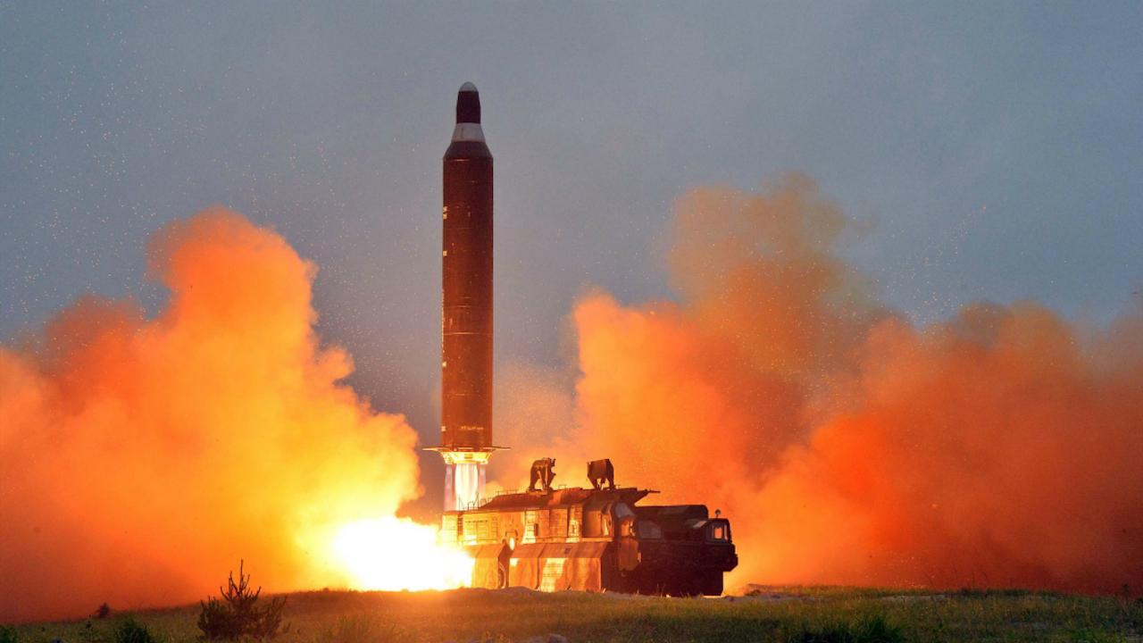 Een Noord-Koreaanse ballistische raket. Foto AFP/ANP