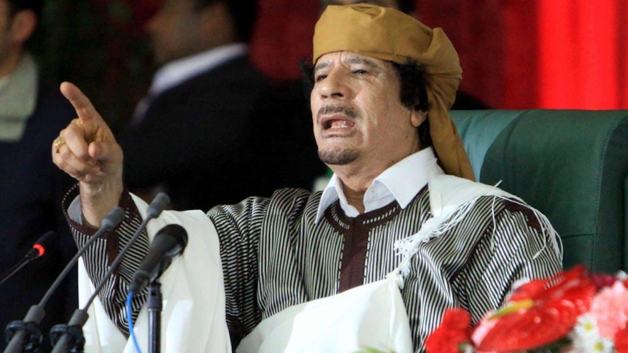 Kolonel Khadaffi tijdens een speech op de 34e verjaardag van de General People's Committee in Tripolee op 2 maart 2011. Foto: ANP