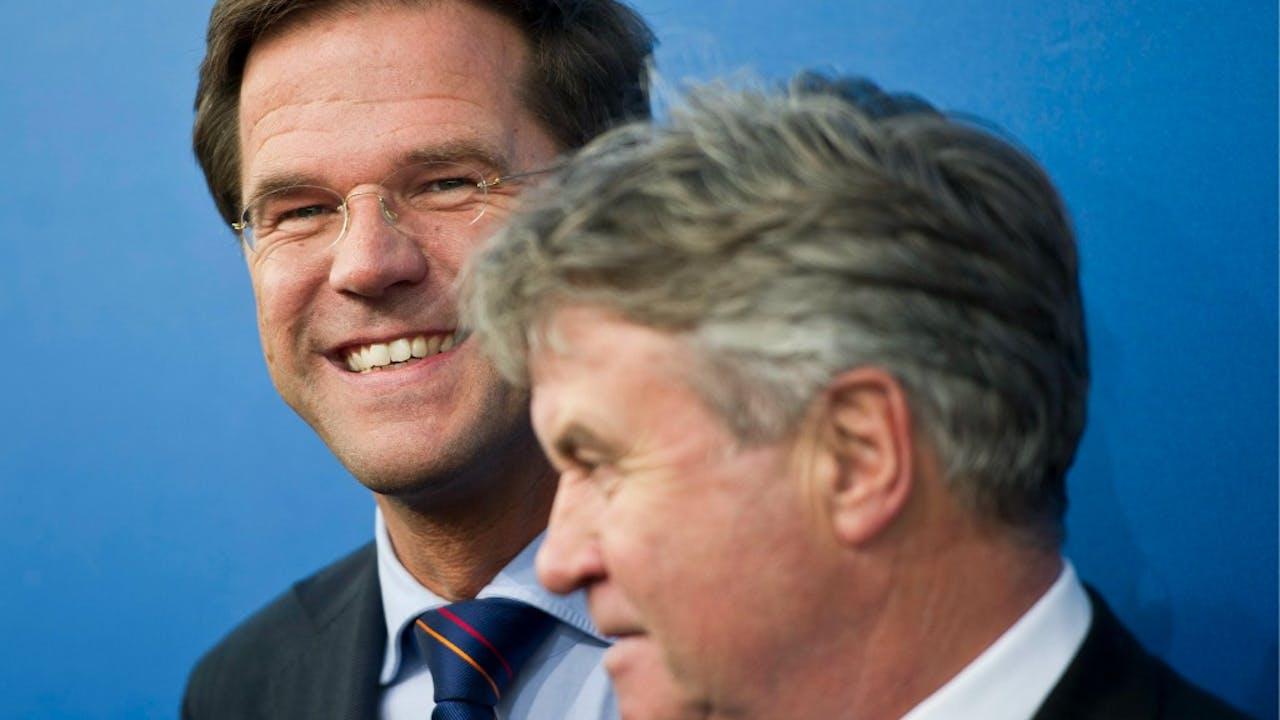 Rutte en Hiddink in 2010. Foto: ANP