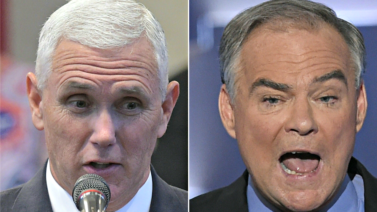 In de linkerhoek vannacht: Mike Pence voor de Republikeinen. In de rechterhoek: Tim Kaine voor de Democraten. Foto: ANP