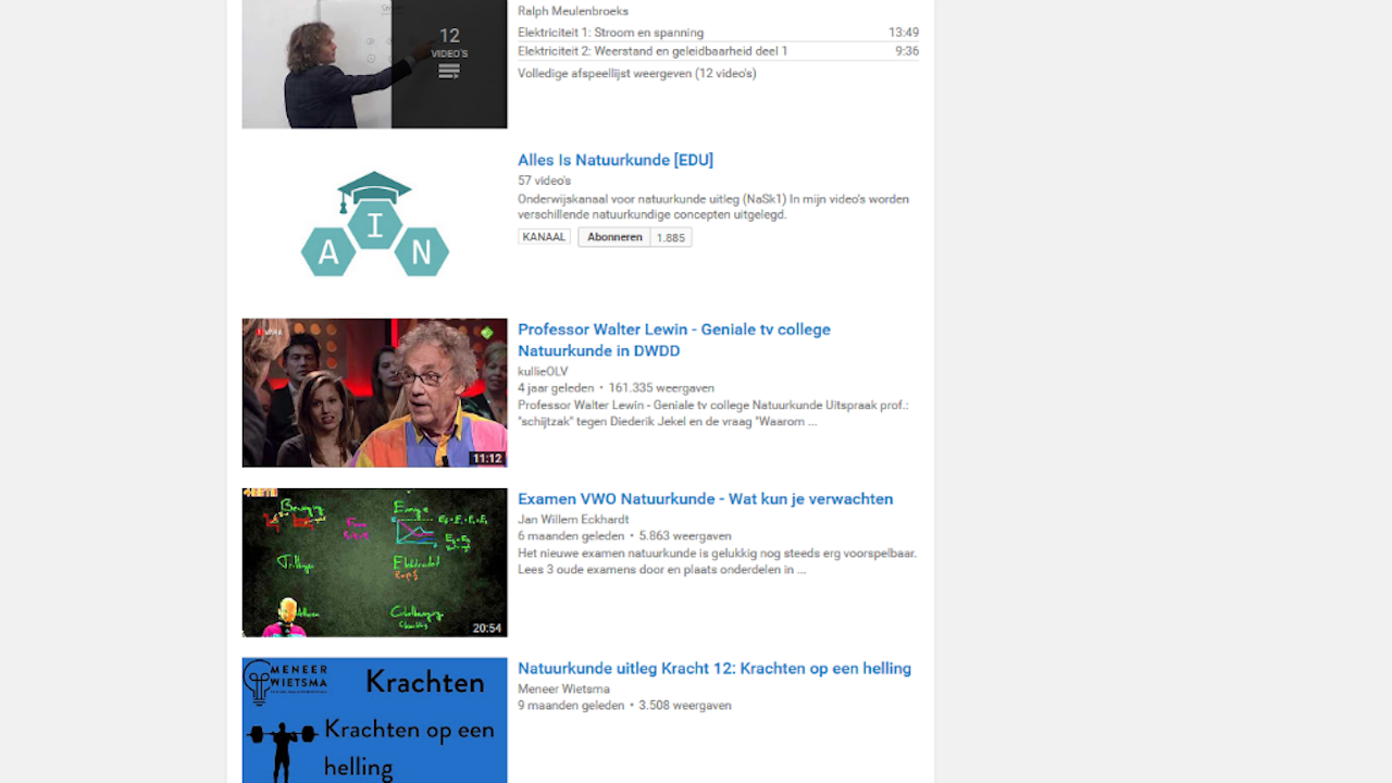 Screenshot van Youtube