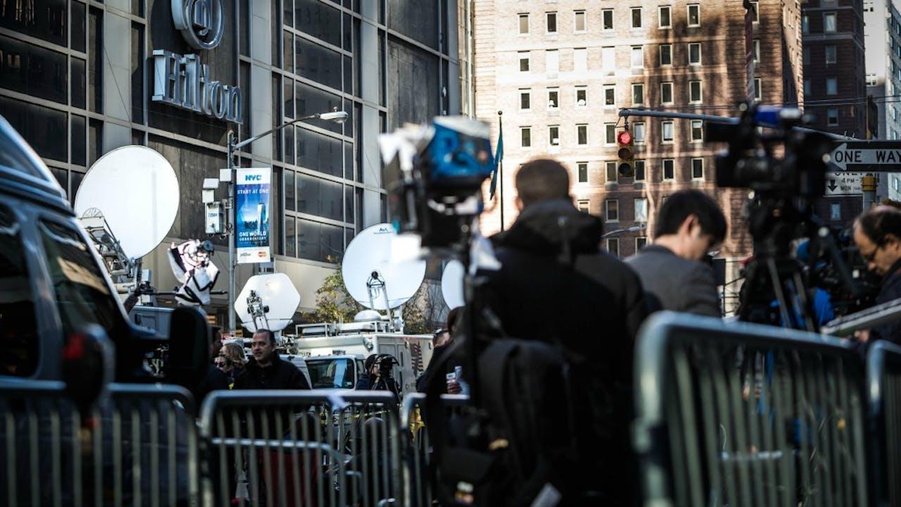 Media op de verkiezingsdag in Amerika. Foto: ANP.