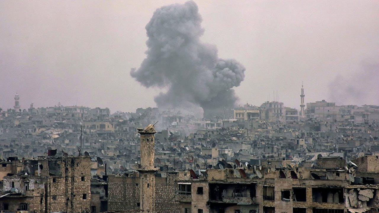 Bombardementen boven Aleppo. Foto: ANP.