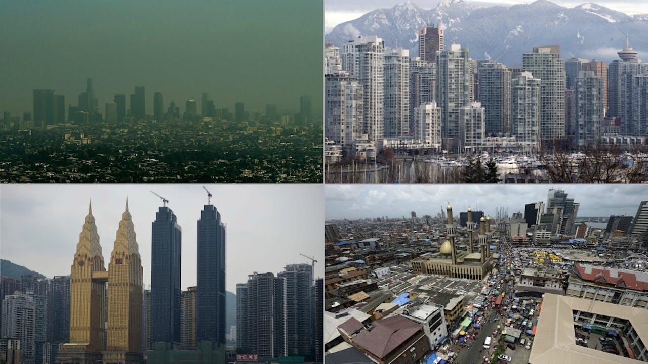 Los Angeles , Vancouver, Chongqi en Lagos. Foto's AFP