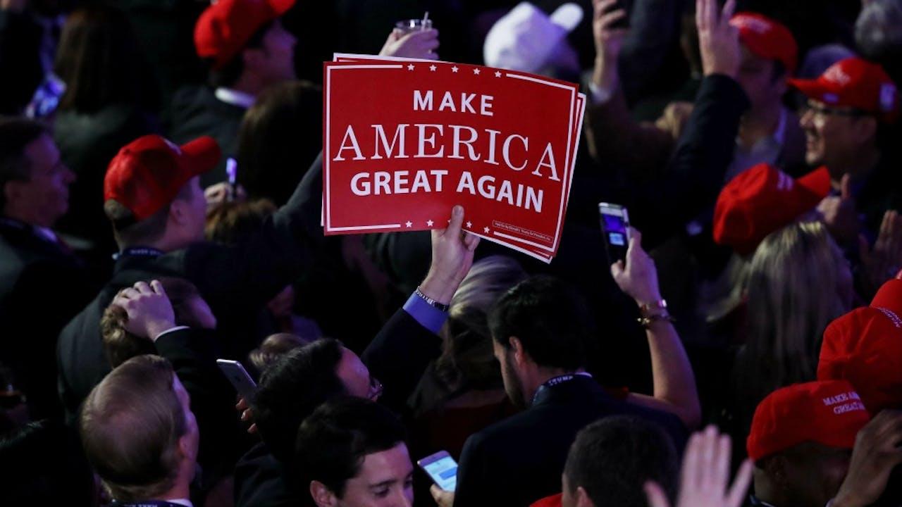 Een slogan die wel werkte. Foto: ANP.