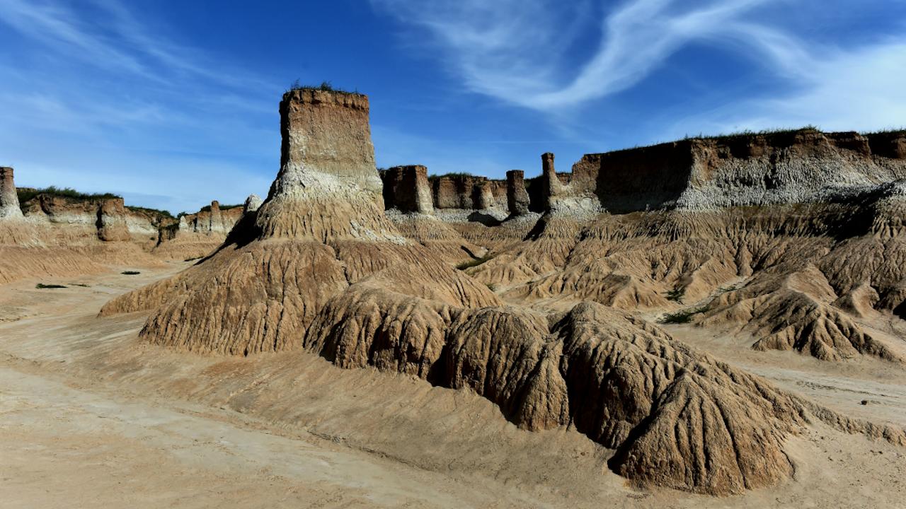 Een landschap dat is ontstaan in tijden dat het water veel hoger stond (Foto: Zhan Yan Xinhua/HH)