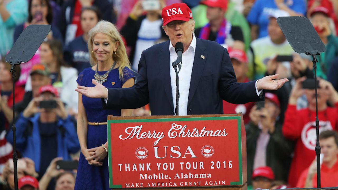 Conway (links) en Trump. Foto: ANP.