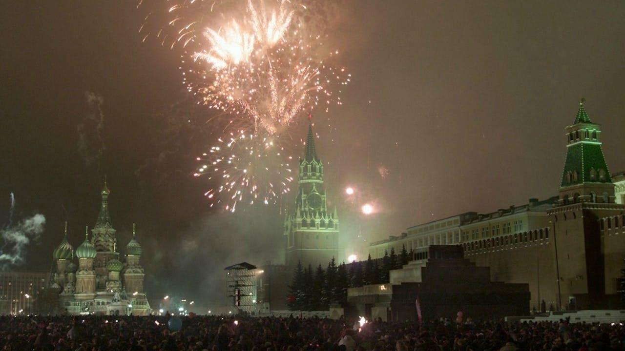 Vuurwerk op het Rode Plein in Moskou. Foto: ANP.