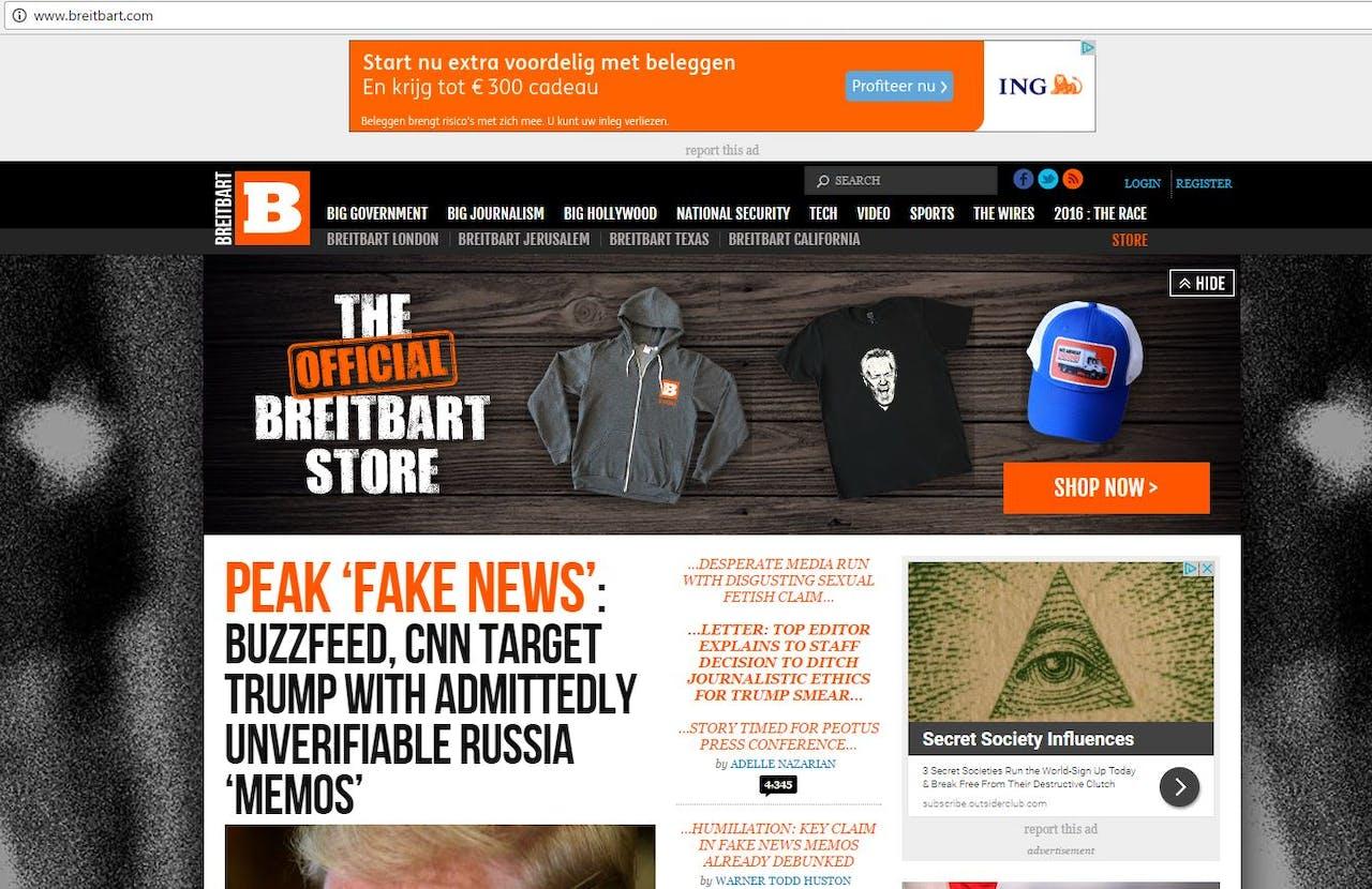 Een advertentie van ING op de site Breitbart. Screenshot Breitbart.com