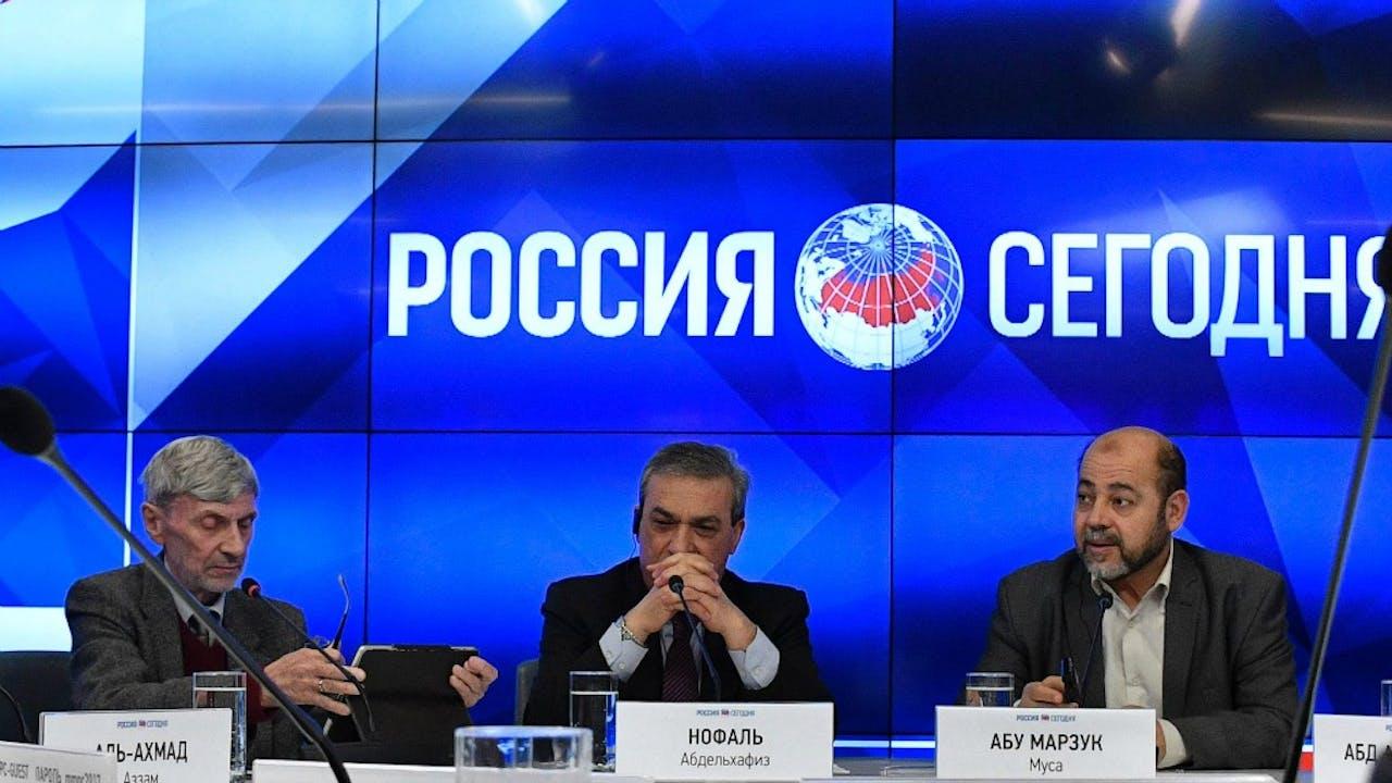 Palestijnse partijen tijdens de persconferentie in Moskou. Foto: AFP