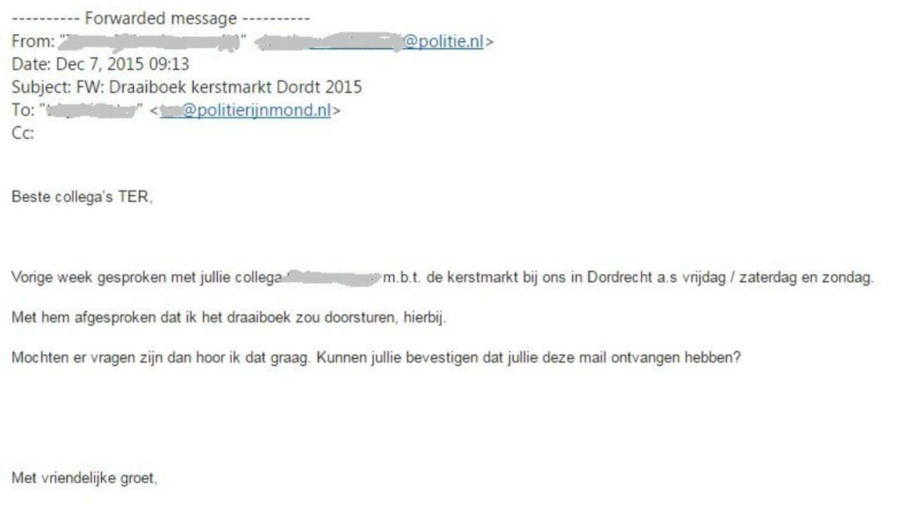 Met deze email lag het beveiligingsplan voor de kerstmarkt in Dordrecht voor het oprapen.