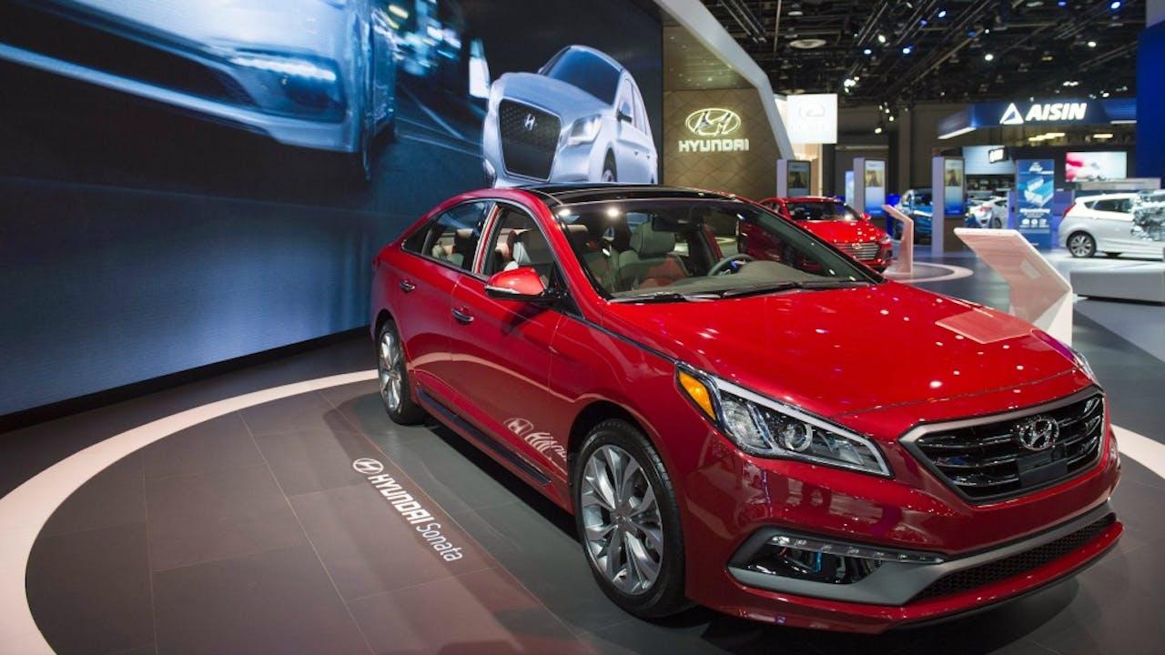 Een Hyundai Sonata op de North American International Auto Show in Detroit, eerder deze maand. Foto: ANP/AFP