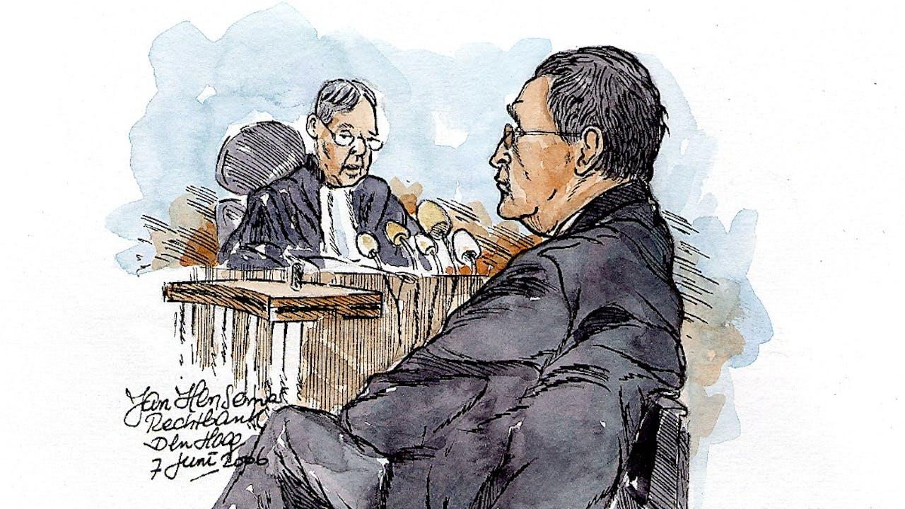 Rechtbanktekening van Guus K. in 2006. Foto: ANP