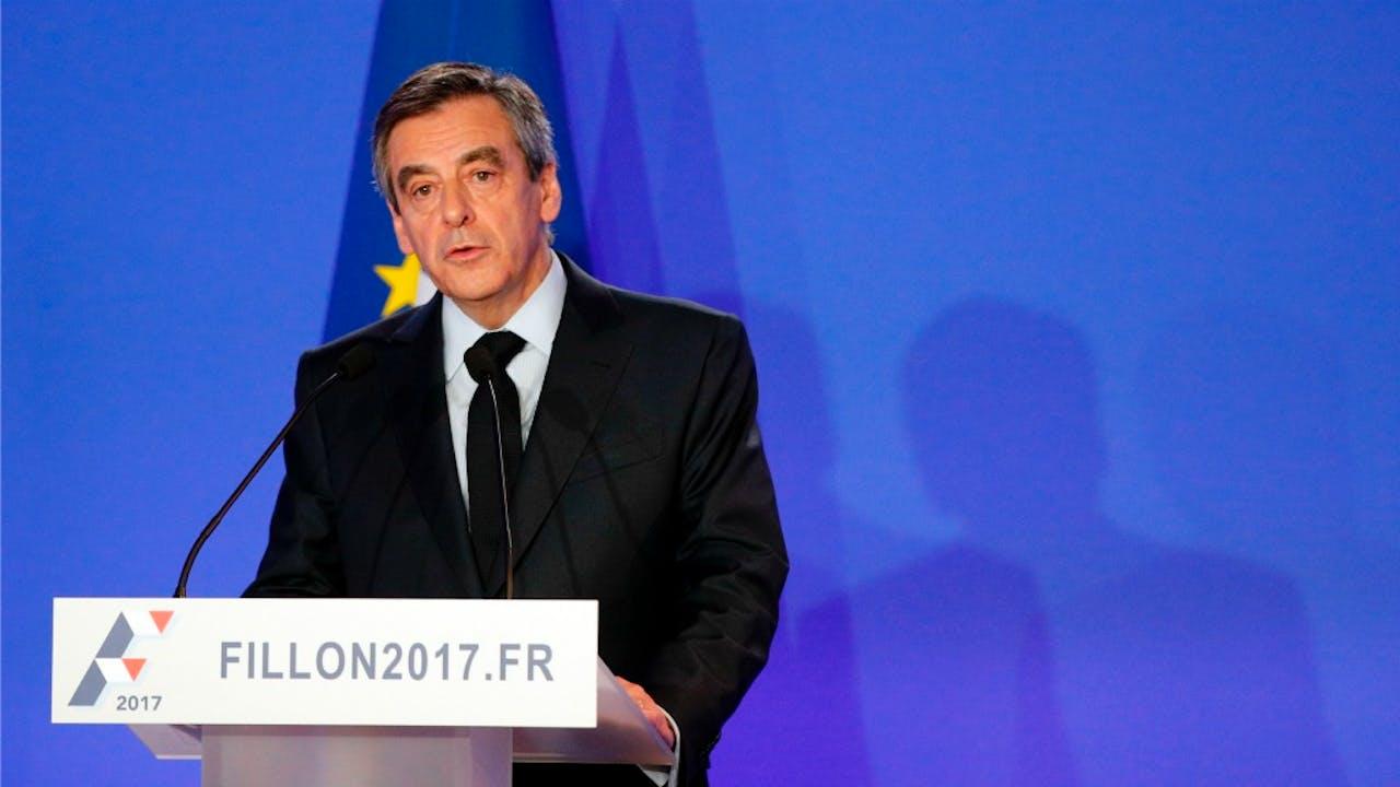 François Fillon tijdens de persconferentie. Foto: HH/Christophe Ena