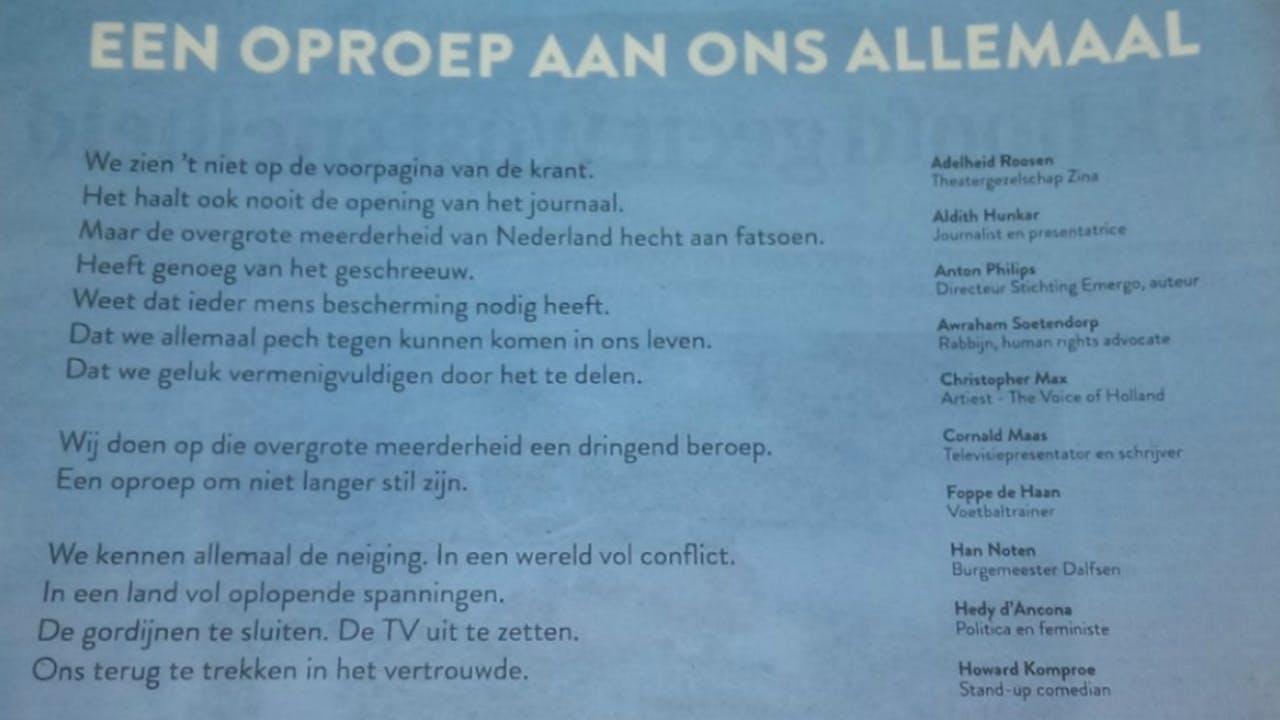 De eerste alinea's van de advertentie in de Volkskrant.