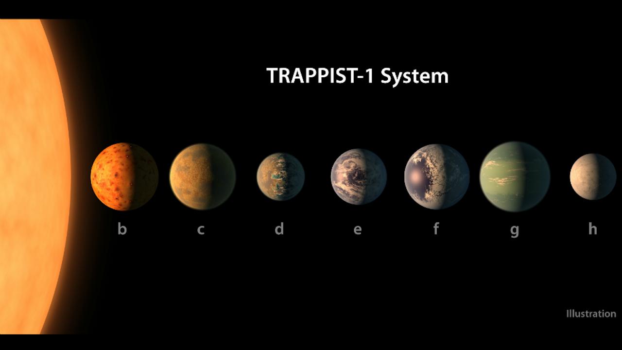 Een tekening van hoe de zeven planeten eruit zouden kunnen zien. De kleur is op basis van artistieke vrijheid, maar de omvang moet ongeveer kloppen. (Afbeelding: NASA/JPL-Caltech)