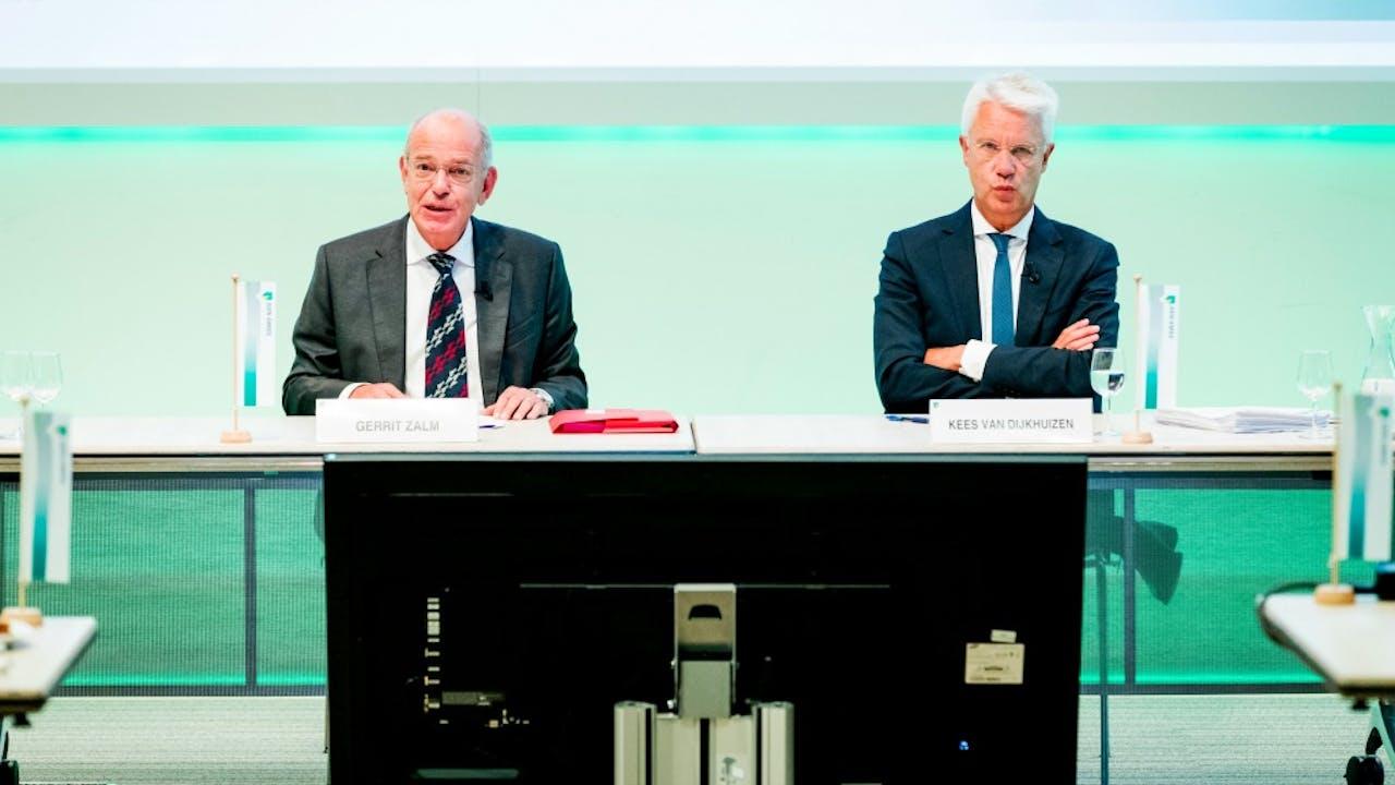 Gerrit Zalm en Kees van Dijkhuizen op de persconferentie van kwartaalcijfers ABN Amro. Foto: ANP.