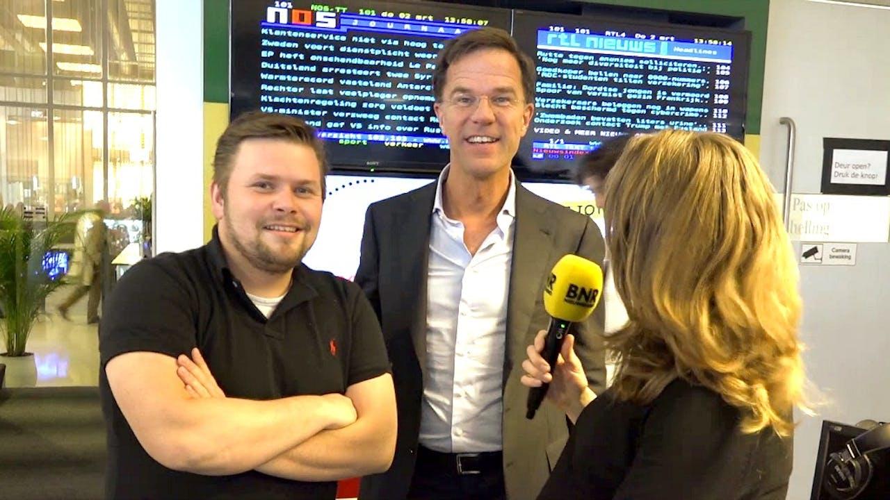 Premier Mark Rutte kwam ook even langs. Foto: BNR
