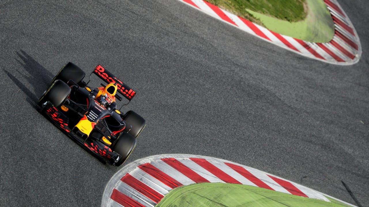 Max Verstappen tijdens zijn eerste rondjes in de RB13, de bolide van Red Bull. Foto ANP