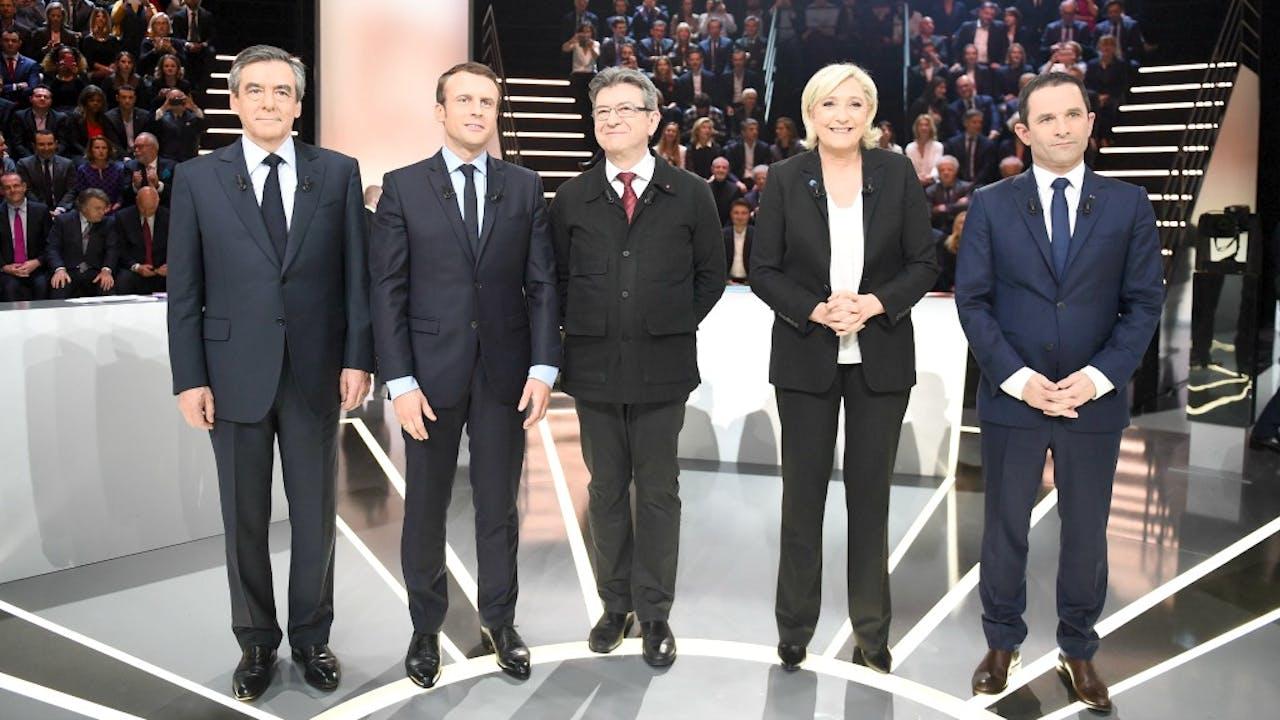 De Franse presidentskandidaten voor het debat. Foto: ANP