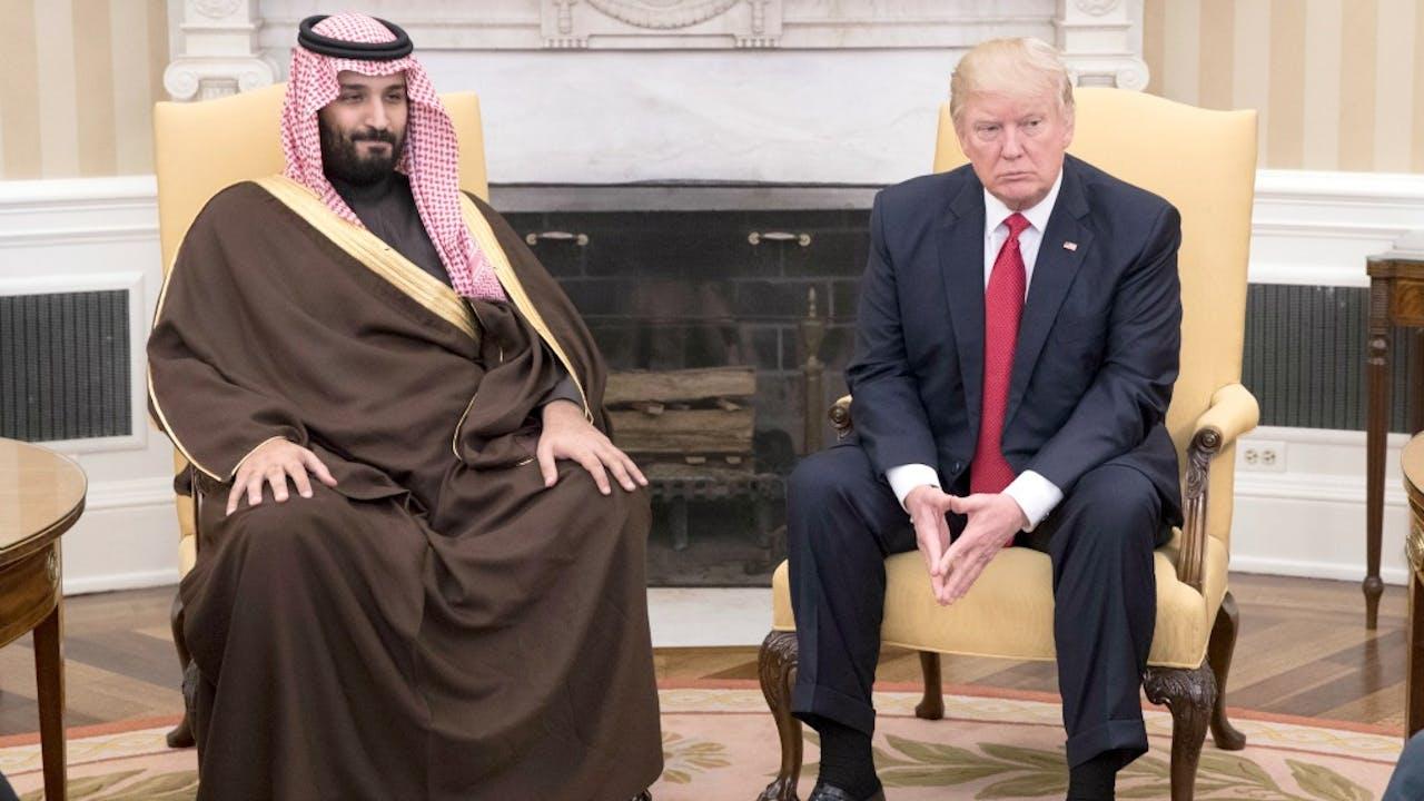 Op 14 maart kreeg Trump bezoek van de Saudische vicekroonprins en minister van Defensie. Foto: ANP