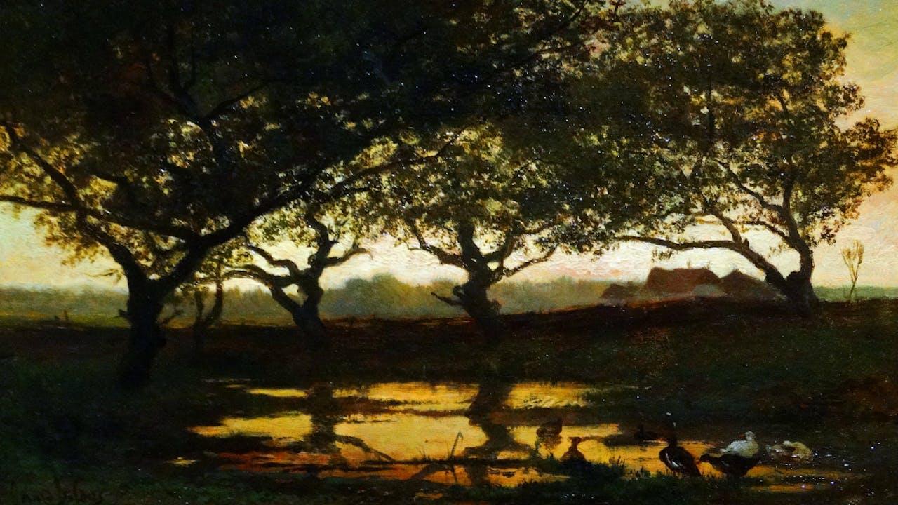 'Bosvijver bij zonsondergang', Gerard Bilders Foto: Hollandse Hoogte/ World History Archive