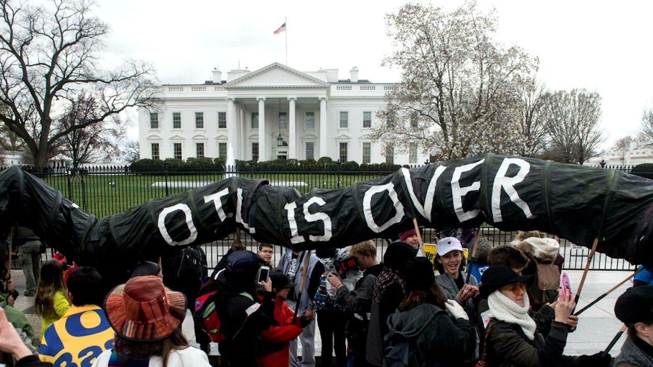 Een protest tegen de bouw van de Dakota Access-pijplijn. Foto: ANP