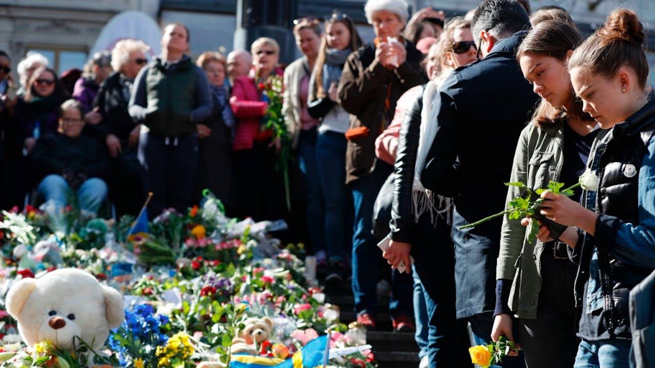 Herdenkingsbijeenkomst zondag in Stockholm. Foto: ANP/AFP