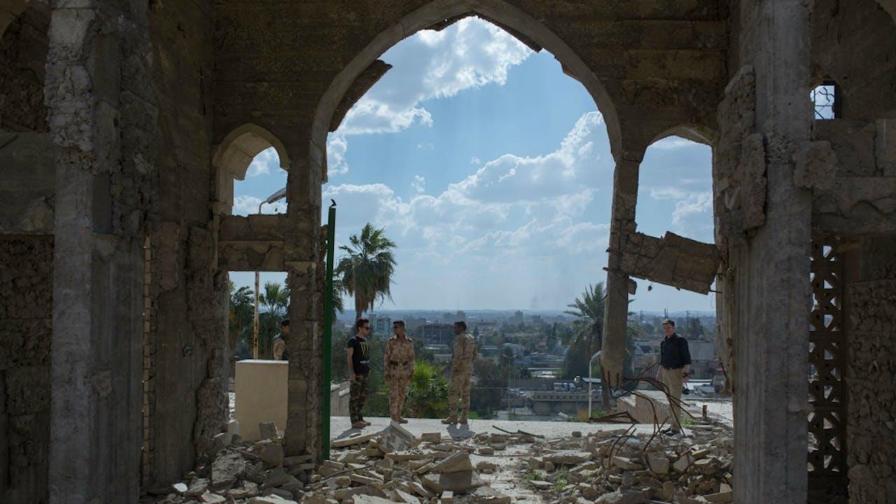 De ruïnes van een vernielde moskee in Oost-Mosul. Foto: HHUygar Onder Simsek