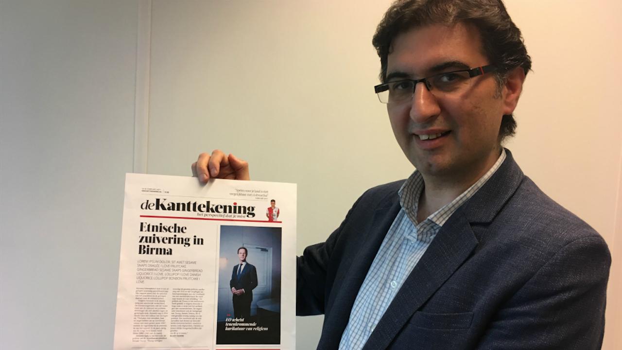 Voormalig Zaman Vandaag-hoofdredacteur Mehmet Cerit met de nieuwe krant 'De Kanttekening'. Foto BNR / Harmen van der Veen