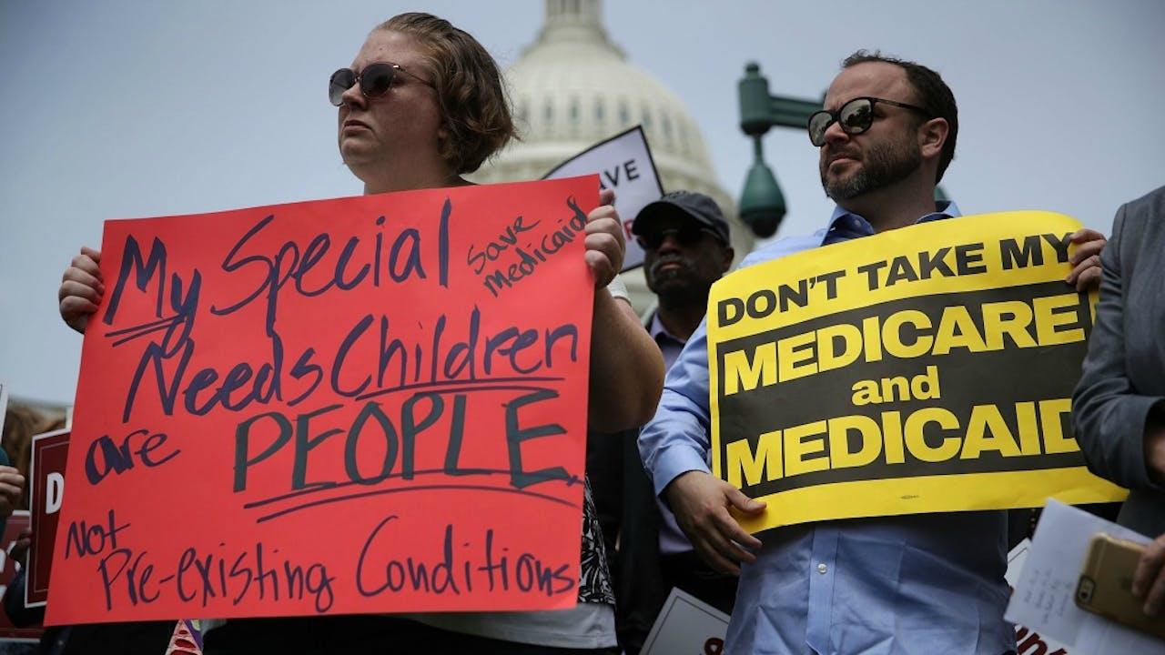 Betogers tegen het vervangen van Obamacare. Foto: ANP/AFP