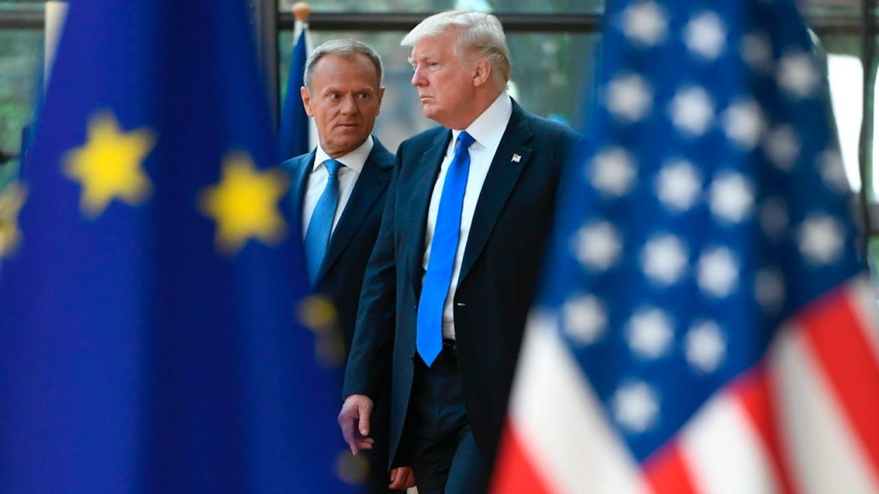 Voorzitter van de Europese Raad Donald Tusk (links) en de Amerikaanse president Trump. Foto ANP