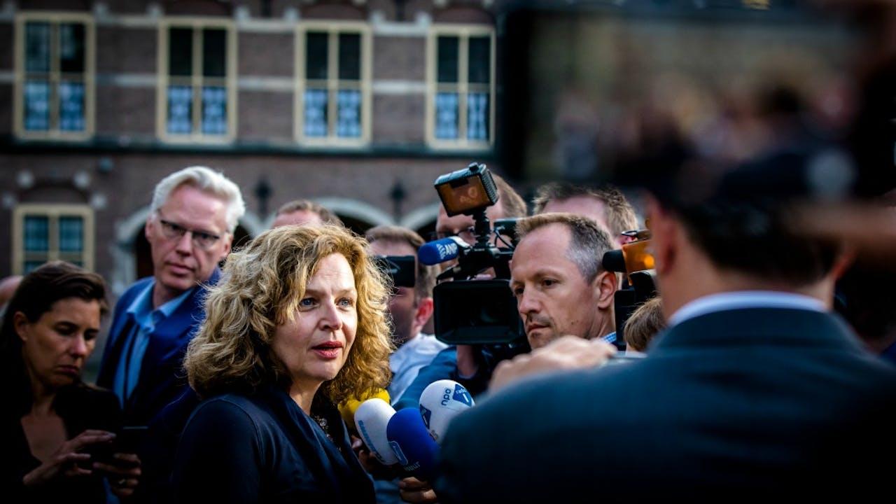 Informateur Edith Schippers op het Binnenhof. Foto ANP
