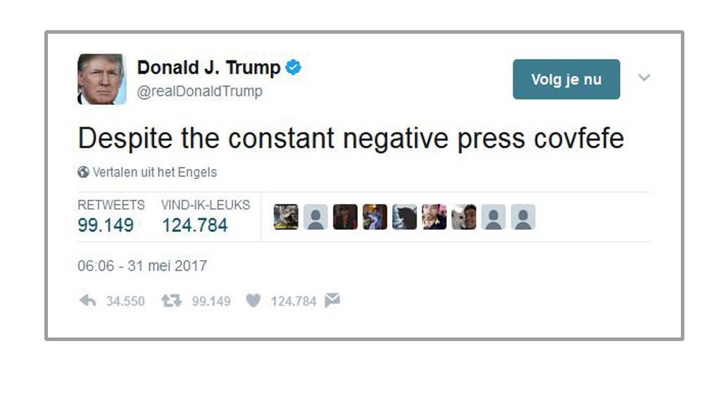 Covfefe? Donald Trump laat twitter in verwarring achter
