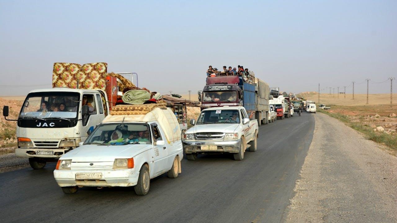Burgers ontvluchten IS-bolwerk Raqqa. Foto ANP