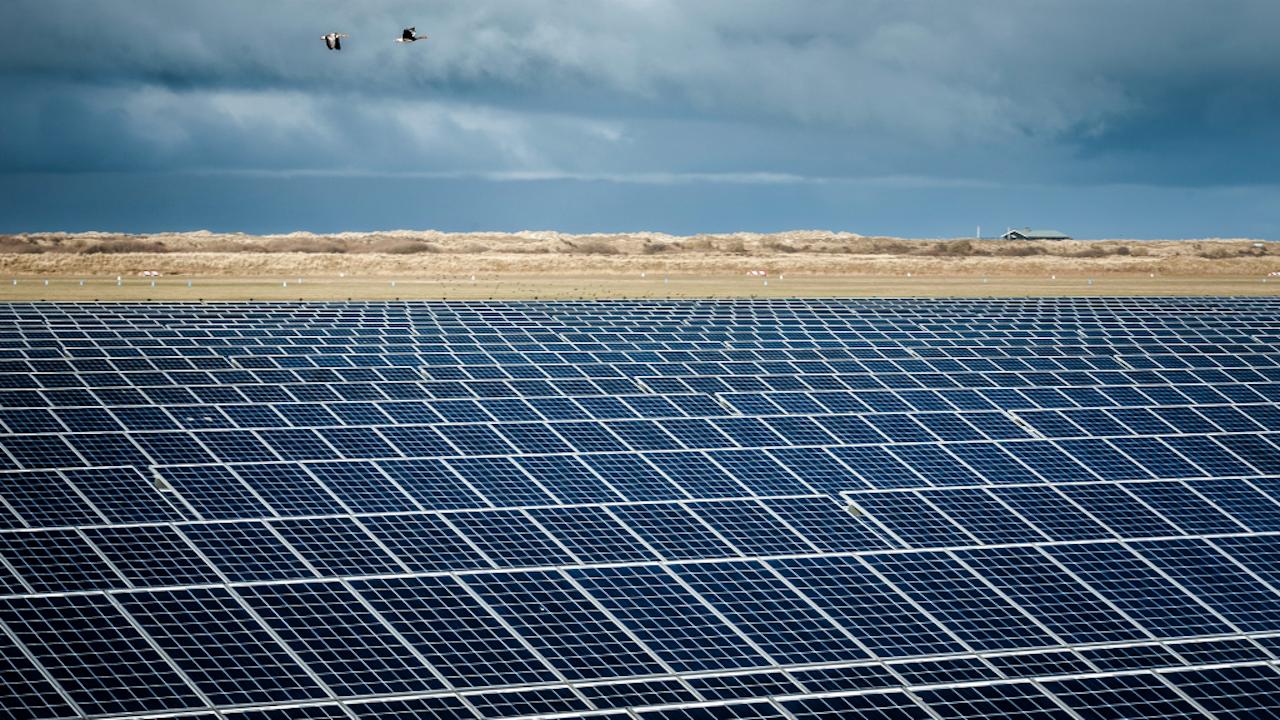 Het zonnepark op Ameland is het grootste van Nederland. Foto: HH/Kees van de Veen